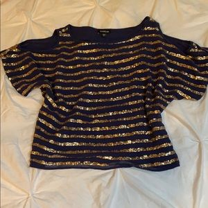 Bebe holiday party blouse top gold purple glitz